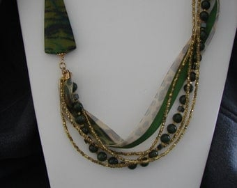 Ribbon, Leather and Jade Necklace