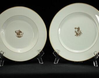 Royal Copenhagen Large Gilded Rim Soup Bowl and Plate Set