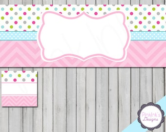 Facebook banner set blank DIY template sweet polkadots instant download - 126