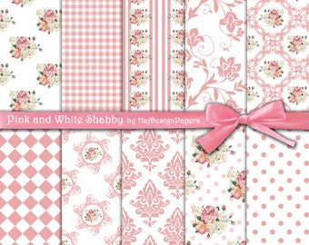 Pink and White Shabby - Instant Download, Floral Paper, Digital Scrapbook Paper, Decoupage Paper, Shabby Chic, Digital Pattern Collage Sheet