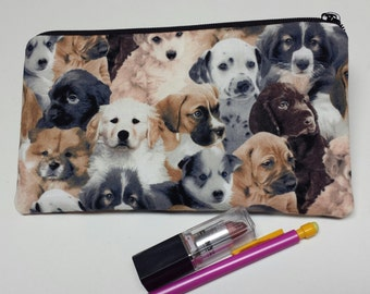 Zipper Pouch,Puppy Pencil Case,Puppy Crayon Bag,Marker Case,Medication Bag,Pencil Case,Cosmetic Bag, Gadget Bag, Nylon liner, Dogs, Puppies.
