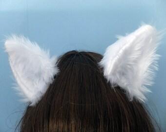 White Cosplay Furry Wolf Arctic Fox Neko Cat Cosplay Ears on Hair Clips Headband Halloween Costume Festival Fursuit Christmas