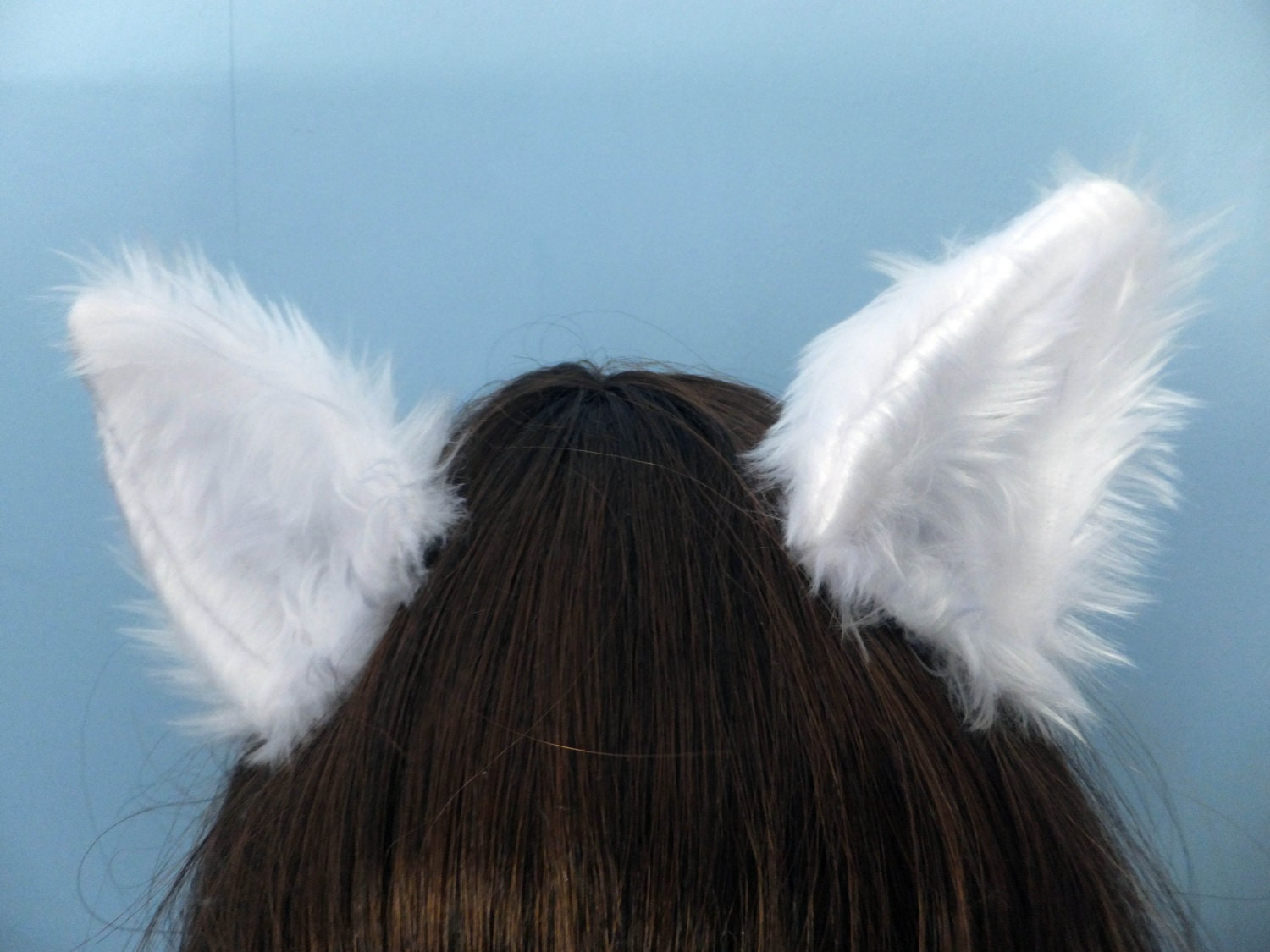 White Cosplay Furry Wolf Arctic Fox Neko Cat Cosplay Ears on