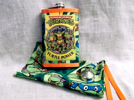 Retro 80s teenage mutant ninja turtles flask with matching carry bag