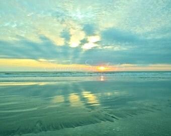 "Beach Print, Sunrise Photograph, Ocean Print, Seascape, Landscape, Nature Print, Florida Beach Art, Aqua Art, Morning Sun- ""Easter Sunrise"""