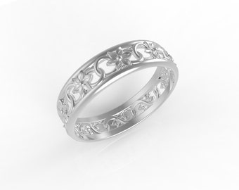 14k White gold antique style wedding band, wedding bands israel, wedding rings antique