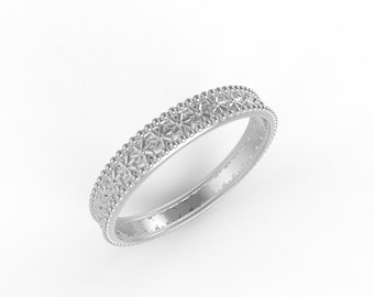 14kt White gold antique wedding band, Ring wedding woman
