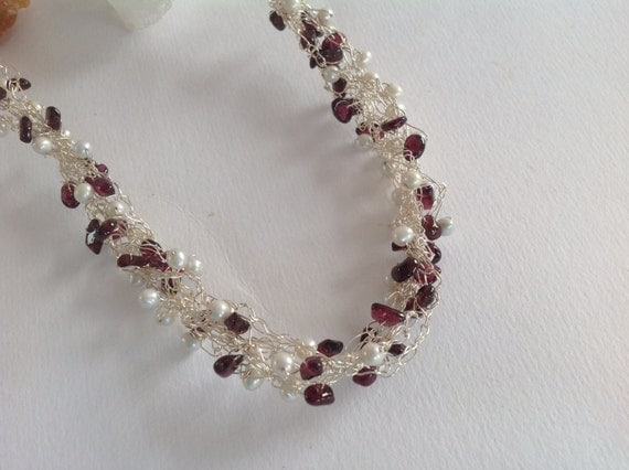 Freshwater Pearl and Garnet Wire Crocheted Necklace