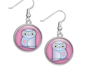 Owl earrings - Owl Glass Earrings, Pink Owl Earrings, Owl Drop Earrings, Pink Owl Jewelry (owl 66)
