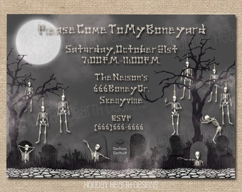 halloween invitation, halloween invite, tombstone digital invite, halloween party, halloween party invite - Digital File - DIY PRINTABLE