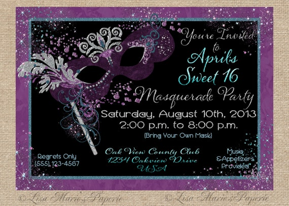 mardi gras invitation masquerade party by LisaMariesPaperie