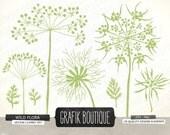Wild herbs flowers silhouette vector clip art, queen anne's lace, wildflower, herb, plant, dandelion, diy invitation