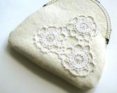 Lace purse - romantic, white felt with vintage lace coin purse
