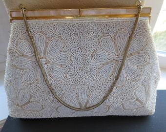 Vintage 1950s white seed beaded handbag. Made in Hong Kong. Free Shipping.