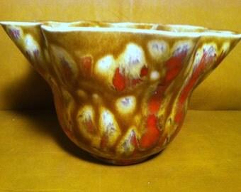 CLEARANCE SALE***Vintage Handmade Drip Glaze Ceramic Planter - 1970s Flower Pot***