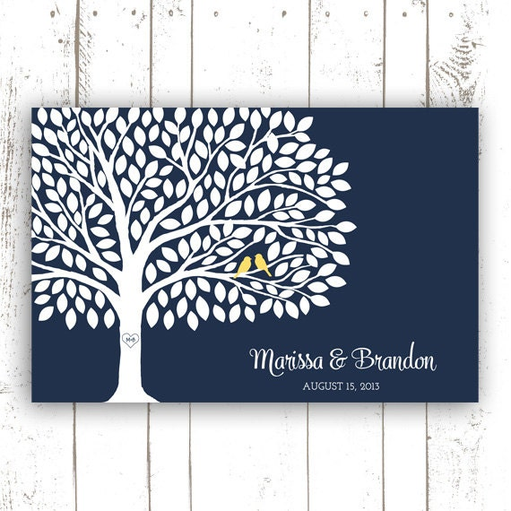 Wedding Guest Book Tree - Guest Book Poster with 200 Leaves - Modern Wedding Guest Book Print in Navy and Yellow