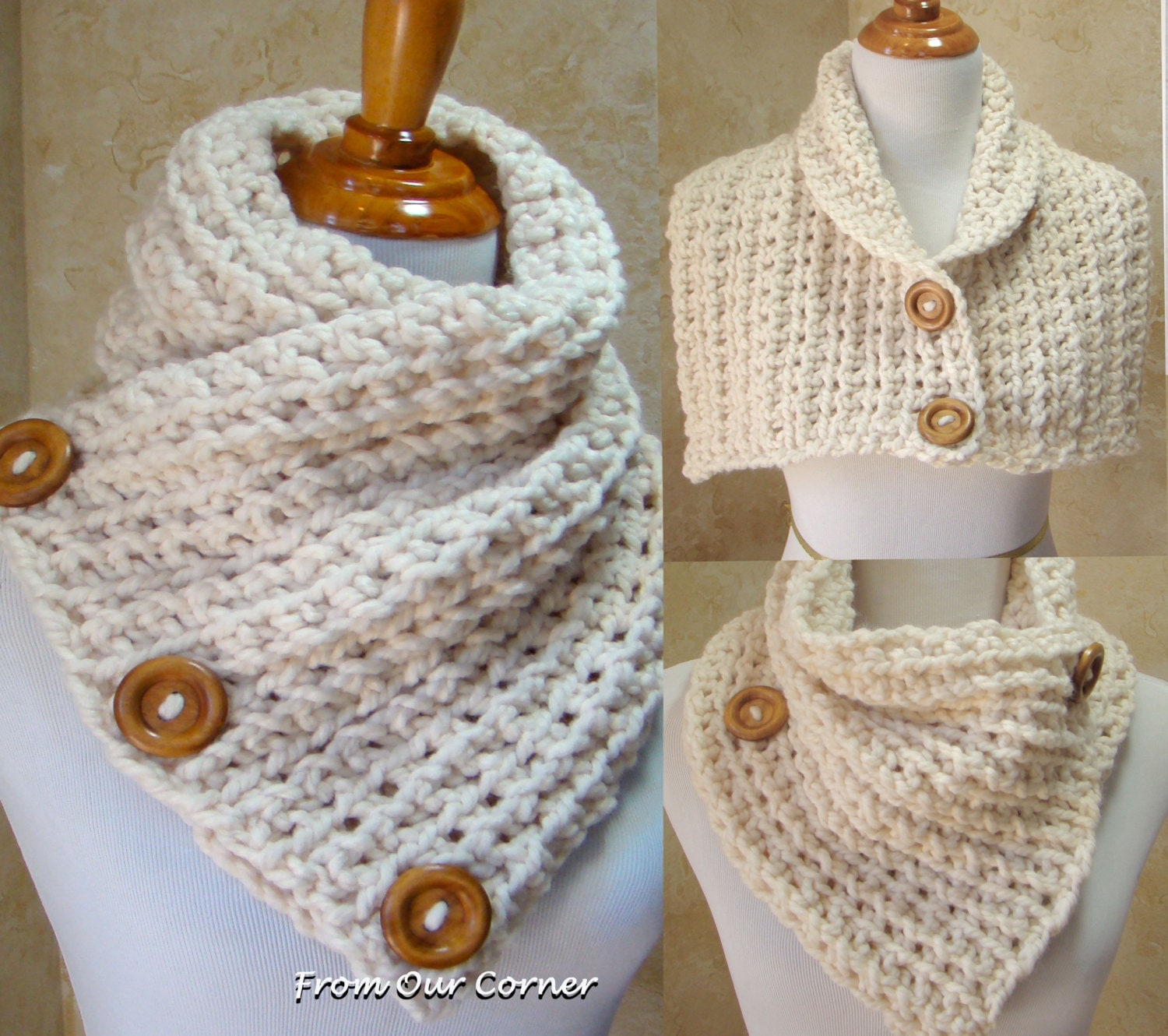 Crochet Scarf Pattern With Button : Sale 15% off Crochet Scarf 3 Button scarf Wrap cowlCream 3