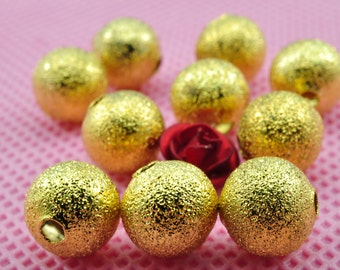 100 pcs of Gold plated Matte Spacer round beads in 8mm