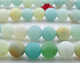 62 pcs of Natural Amazonite matte round beads in 6mm (08678#)