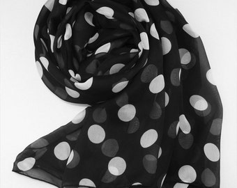 Black Silk Chiffon Scarf with Large Polka Dot Print - White Dot Printed Silk Scarf - AS32