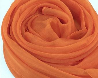 Dark Orange Silk Chiffon Scarf - Large Orange Silk Scarf - AS220