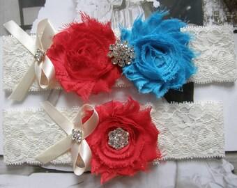 SALE / Something Blue / Red & Blue / Wedding Garter / Vintage Inspired / Lace Garter