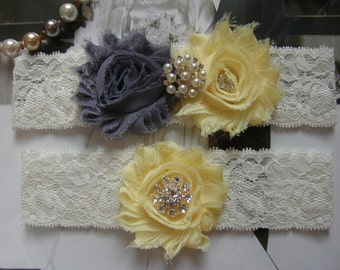 Gray / Pale Yellow /  Wedding Garters / Lace Garter/ Bridal Garter Set / Vintage Inspired