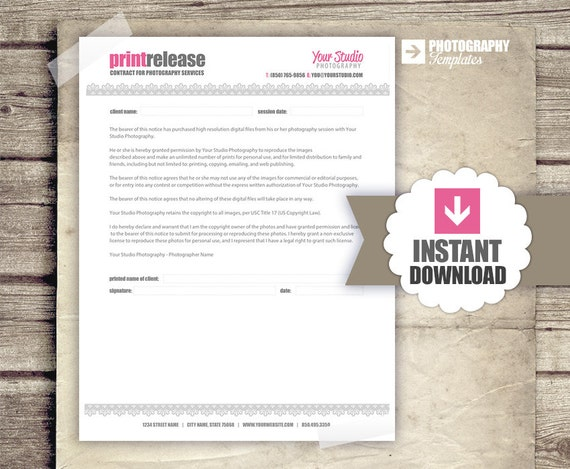 Photography Business Forms Print Release Form for Photographers – Photographer Release Forms