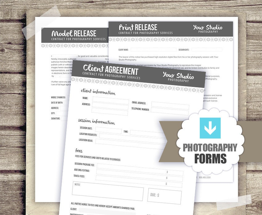 Photography Forms Template Kit  Client Agreement Print Release
