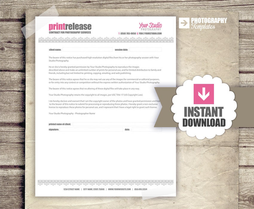 Photography Business Forms Print Release Form for Photographers – Photography Copyright Release Form