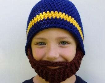 Crochet Bearded Beanie, WVU bearded beanie