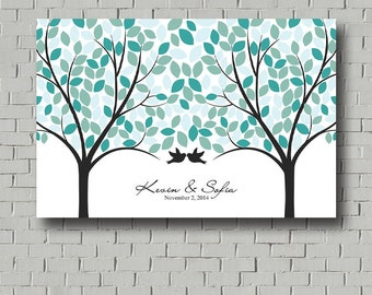 Wedding Guest Book Tree Wedding Tree - Guest book Print Guestbook Alternative, Wedding Canvas Signature Tree, Blue Wedding Poster Wood Signs