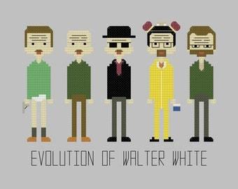 Cross Stitch Pattern - Evolution of Walter White//Craft Supplies//PDF Pattern//Instant Download//Digital Download