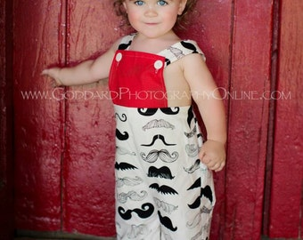 Simply Mustaches All Over - Overall for Your Little Man - Sizes Newborn to 5t