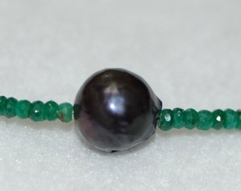 Emerald and Grey Barouque Pearl Necklace