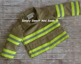 Firefighter Baby Jacket With NAME on back of Jacket baby shower gift, New baby Gift, bunker gear look, turnout gear, first responder