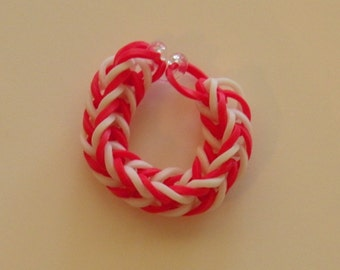 Fishtail Rubber band ring or American Girl Doll Bracelet  By Brittani red and white Alabama colors or Custome colors Latex Free