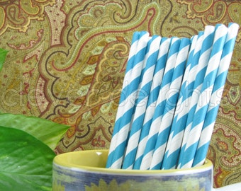 "100 Turquoise Stripe Paper Straws - 7 3/4"" - Eco-Friendly Biodegradable Paper Drinking Straws - Wedding Party Shower Reception Celebrations"