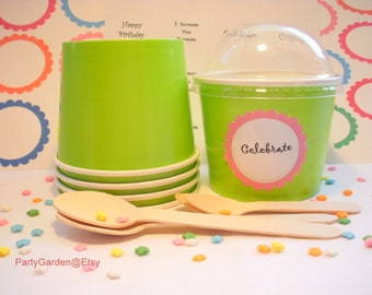 25 Lime Green Ice Cream Cups - Medium 12 oz