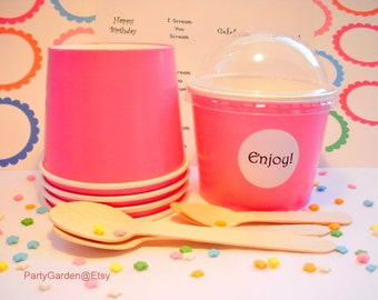 12 Hot Pink Ice Cream Cups - Medium 12 oz
