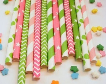 25 Pink Lime and Hot Pink Mix Strawberry Shortcake Paper Straws