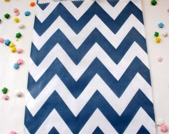 24 Navy Blue Chevron Party Favor Bags - Treat Candy Baking Gifts Cookies