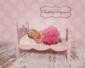 Newborn bed photography photo prop hand made log wooden princess bed