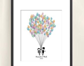 Wedding Guest Thumbprint Guestbook - Balloons - DIY Printable