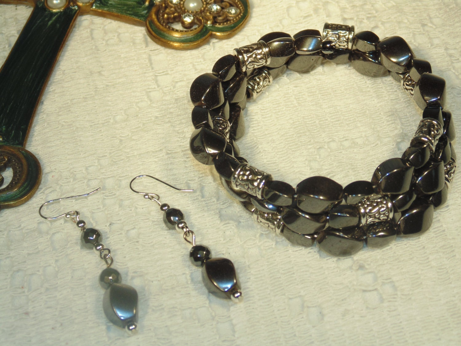 Magnetic hematite bracelet or cuff and drop earrings sethand for How does magnetic jewelry work