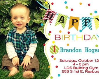 Colorful First Birthday Invitation