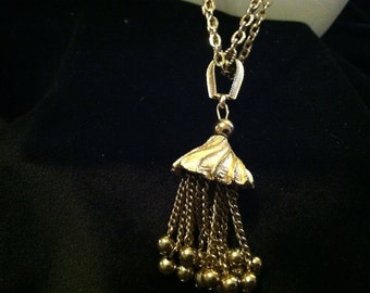 Vintage Gold Tone TASSEL Necklace