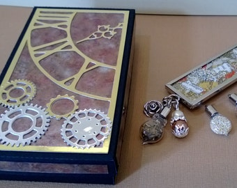 Large  Silver, Gold and Copper brooch, with interchangeable dangles, including small steampunk vial. Including UK p&p
