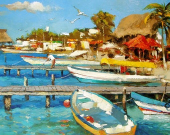 Sea - Original oil painting on canvas by Dmitry Spiros. Seascape Size: 24 x 32 in (60 x 80 cm)
