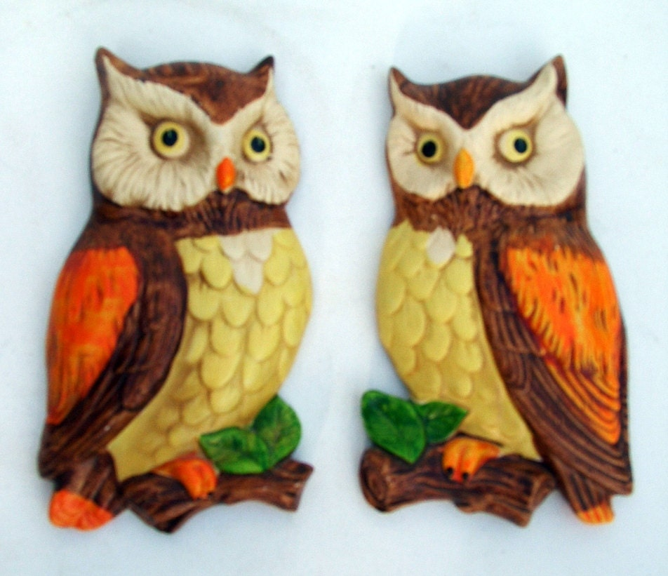 Two Owls 1970 39 S Vintage Kitchen Wall Hanging Decor By